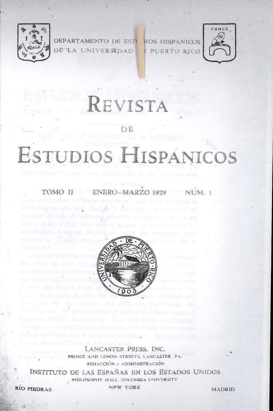 Tomo 2, Núm. 1, Enero-Marzo 1929